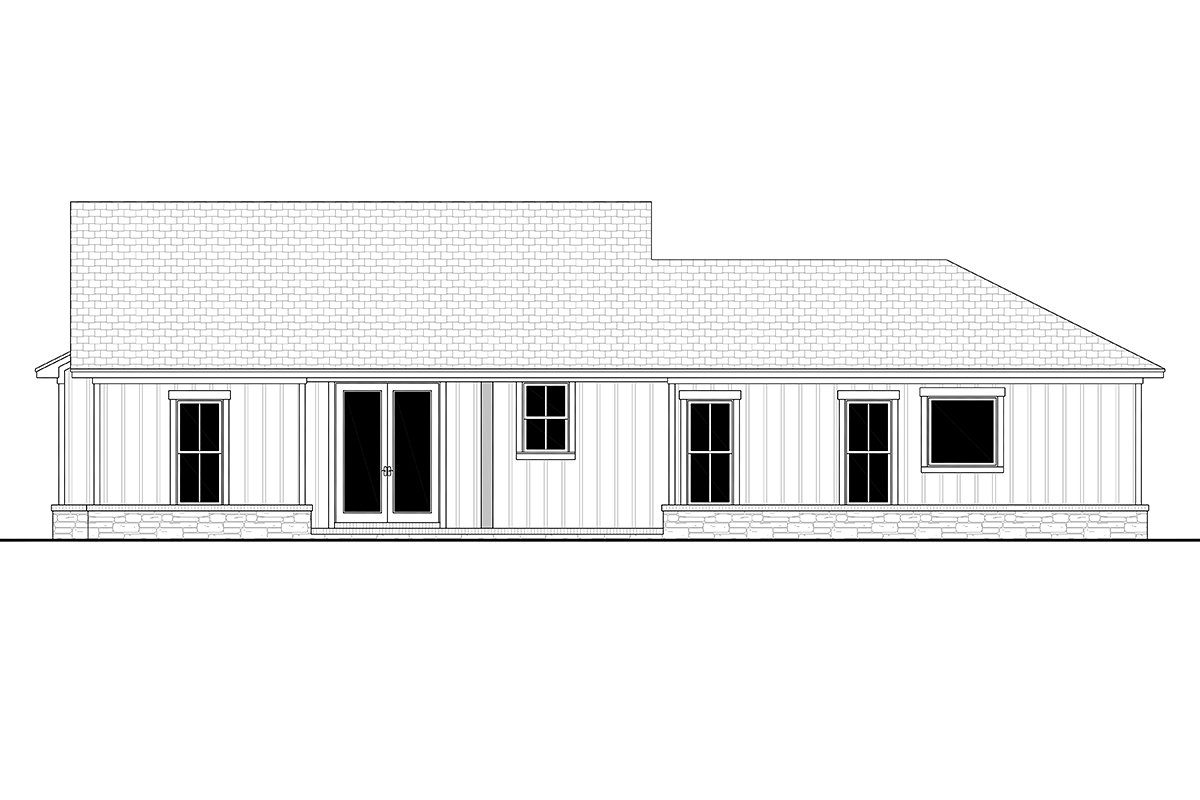 Bungalow, Country, Craftsman, Farmhouse, Ranch Plan with 1599 Sq. Ft., 3 Bedrooms, 3 Bathrooms, 2 Car Garage Rear Elevation