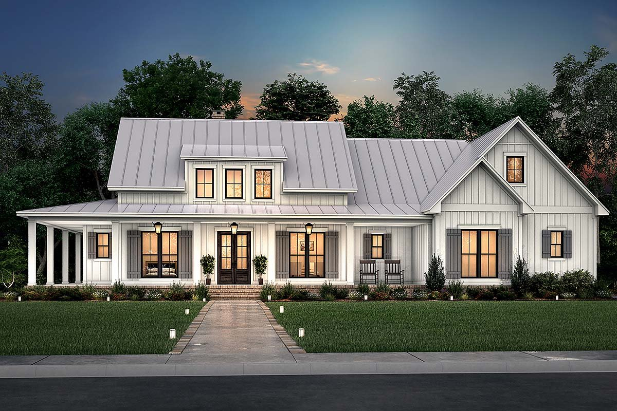 Country, Craftsman, Farmhouse, Traditional Plan with 2428 Sq. Ft., 3 Bedrooms, 3 Bathrooms, 2 Car Garage Elevation