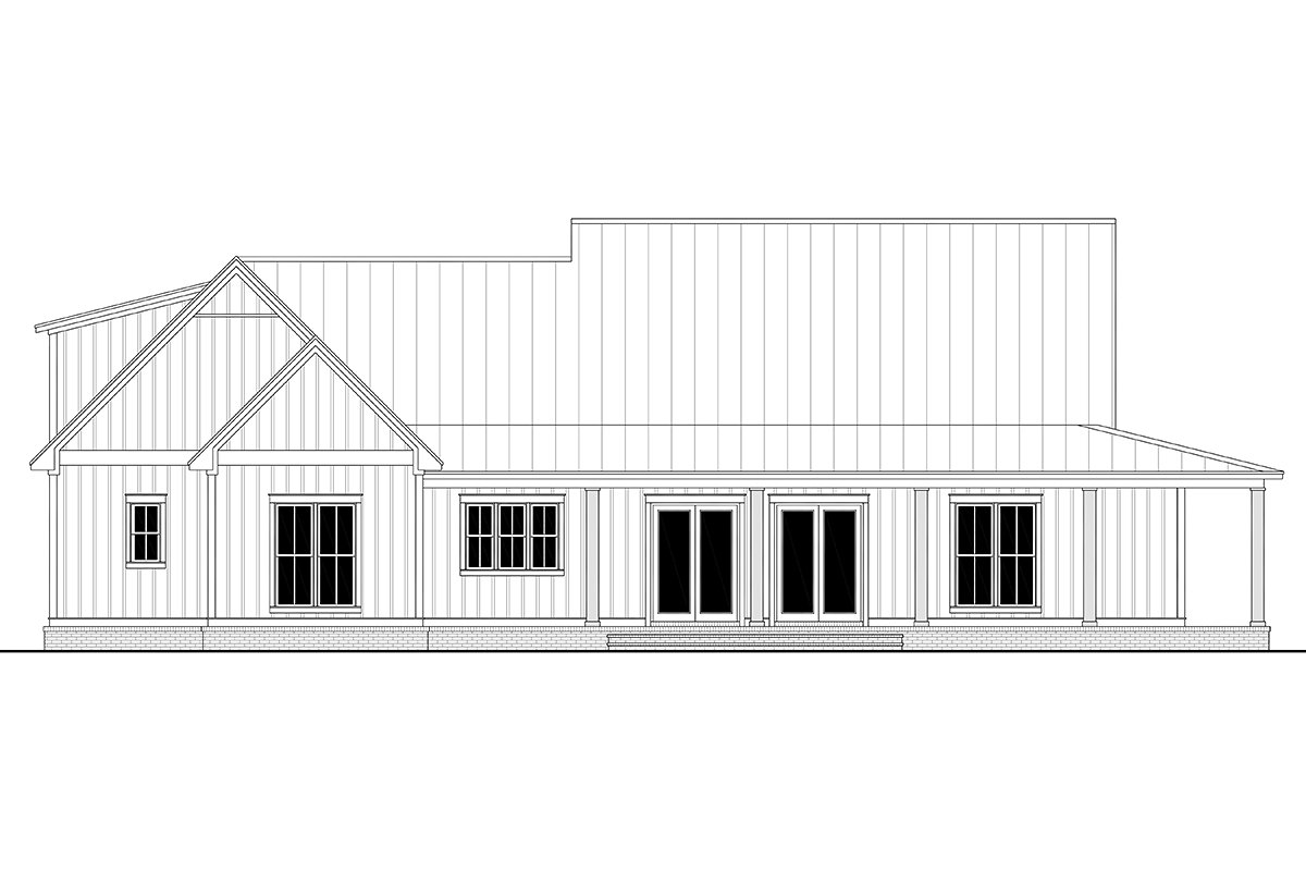 Country, Craftsman, Farmhouse, Traditional Plan with 2428 Sq. Ft., 3 Bedrooms, 3 Bathrooms, 2 Car Garage Rear Elevation