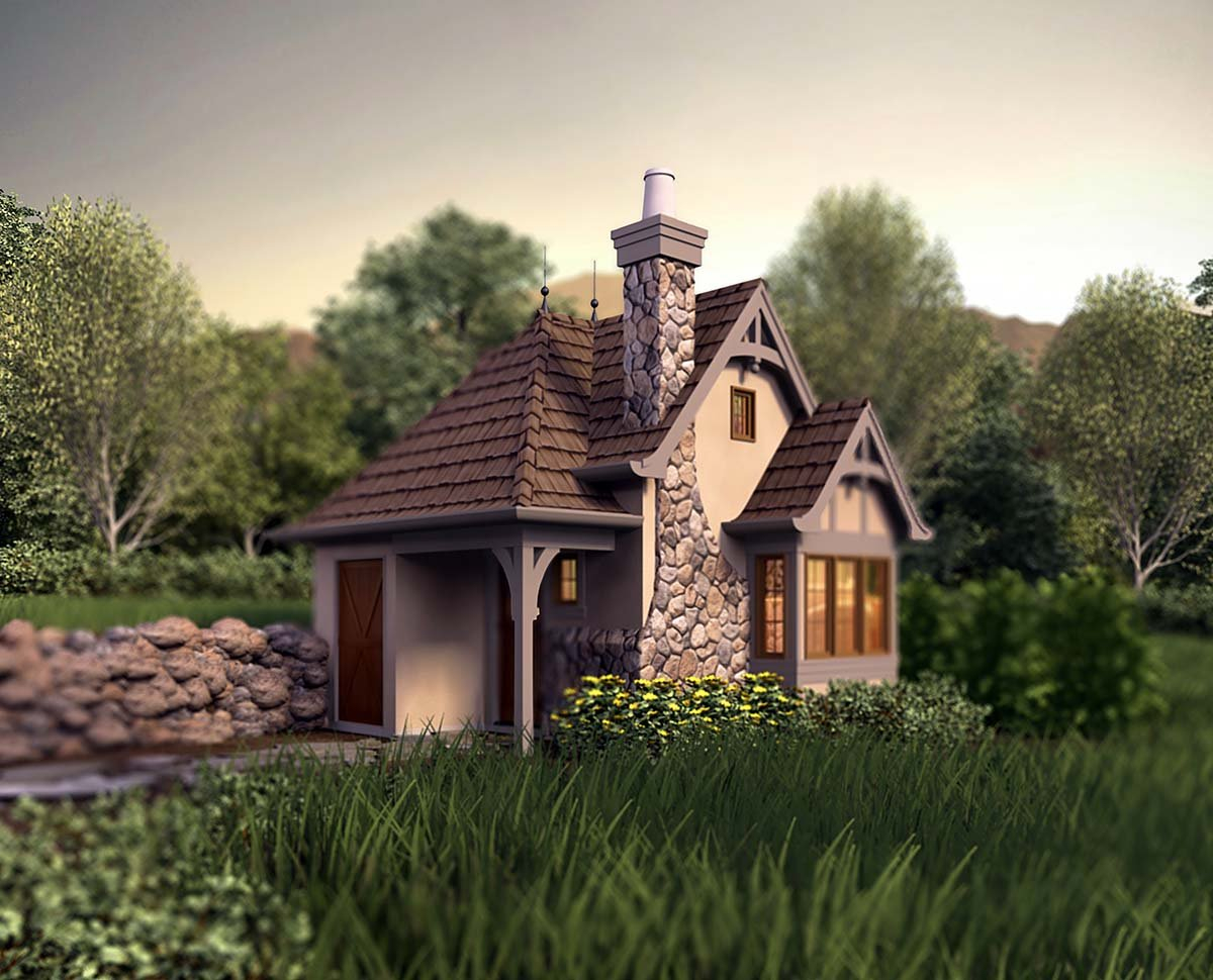 Cabin, Cottage, Narrow Lot, One-Story Plan with 300 Sq. Ft., 1 Bedrooms, 1 Bathrooms Elevation