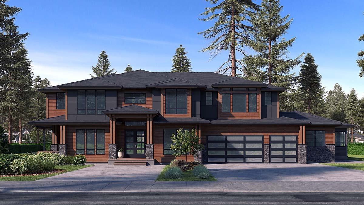 Contemporary, Modern Plan with 5765 Sq. Ft., 6 Bedrooms, 6 Bathrooms, 3 Car Garage Elevation
