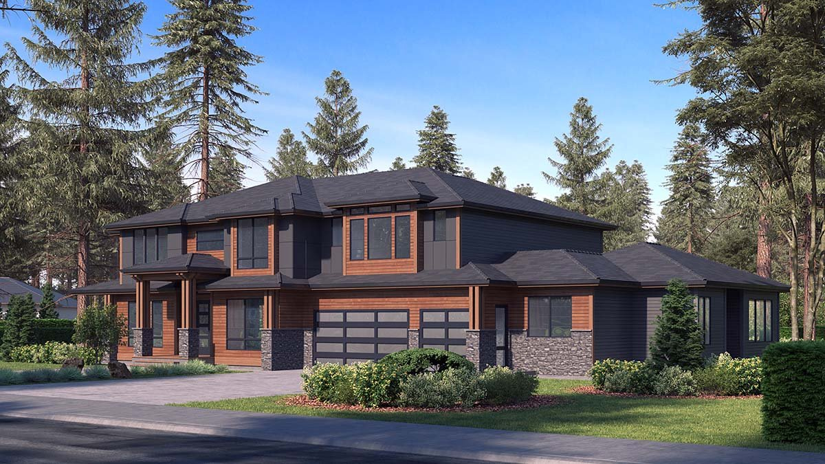Contemporary, Modern Plan with 5765 Sq. Ft., 6 Bedrooms, 6 Bathrooms, 3 Car Garage Picture 2