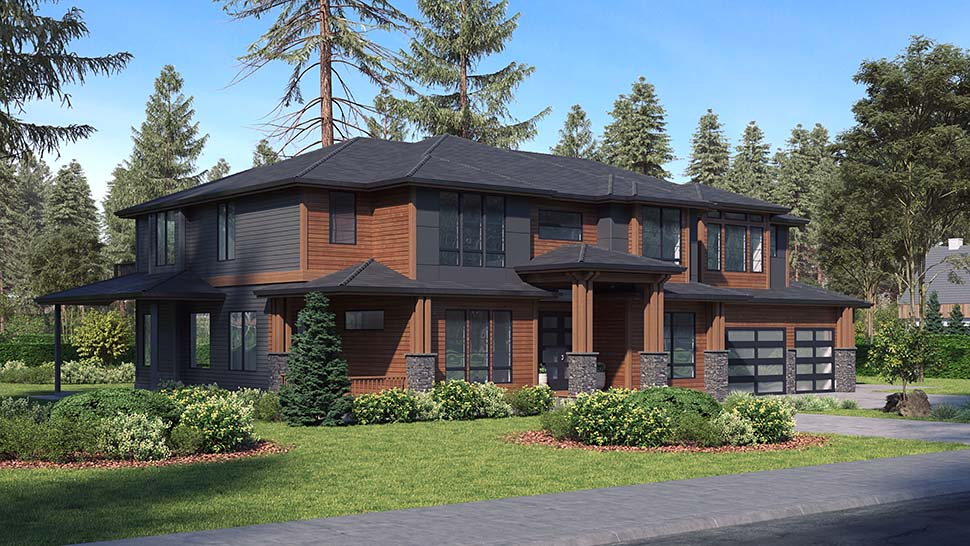 Contemporary, Modern Plan with 5765 Sq. Ft., 6 Bedrooms, 6 Bathrooms, 3 Car Garage Picture 3
