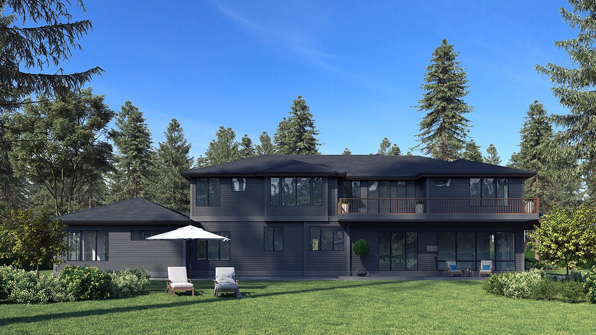 Contemporary, Modern Plan with 5765 Sq. Ft., 6 Bedrooms, 6 Bathrooms, 3 Car Garage Rear Elevation