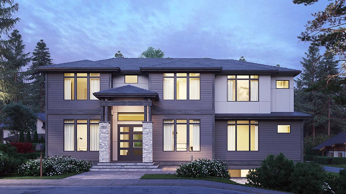 Contemporary, Modern Plan with 4417 Sq. Ft., 5 Bedrooms, 5 Bathrooms, 2 Car Garage Elevation