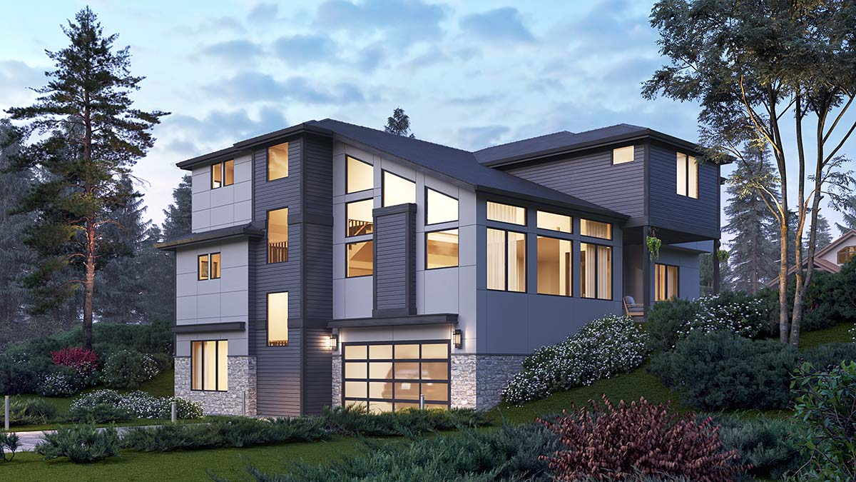 Contemporary, Modern Plan with 4417 Sq. Ft., 5 Bedrooms, 5 Bathrooms, 2 Car Garage Picture 2