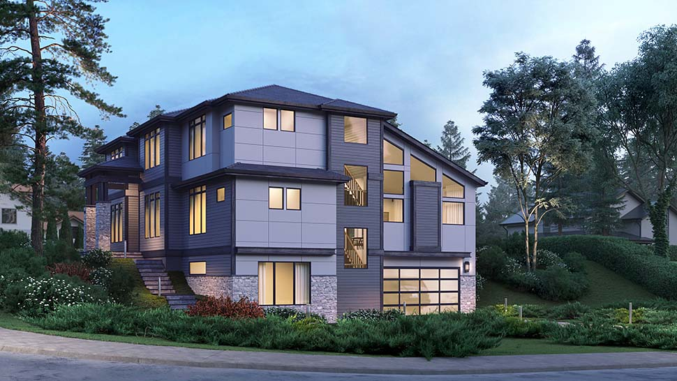 Contemporary, Modern Plan with 4417 Sq. Ft., 5 Bedrooms, 5 Bathrooms, 2 Car Garage Picture 3