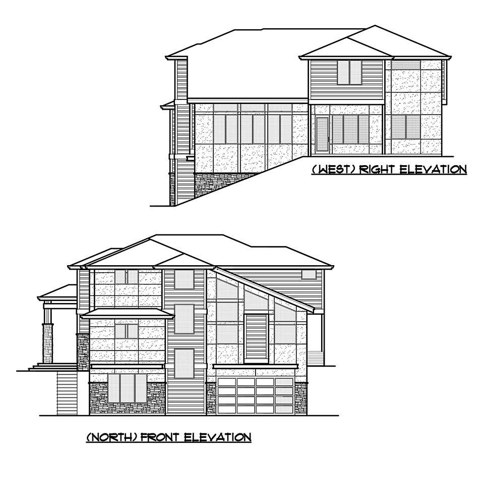 Contemporary, Modern Plan with 4417 Sq. Ft., 5 Bedrooms, 5 Bathrooms, 2 Car Garage Picture 4