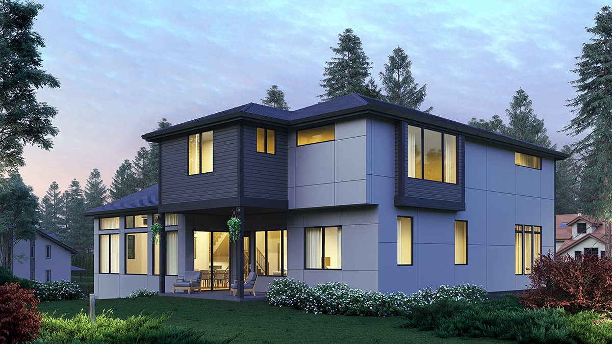 Contemporary, Modern Plan with 4417 Sq. Ft., 5 Bedrooms, 5 Bathrooms, 2 Car Garage Rear Elevation