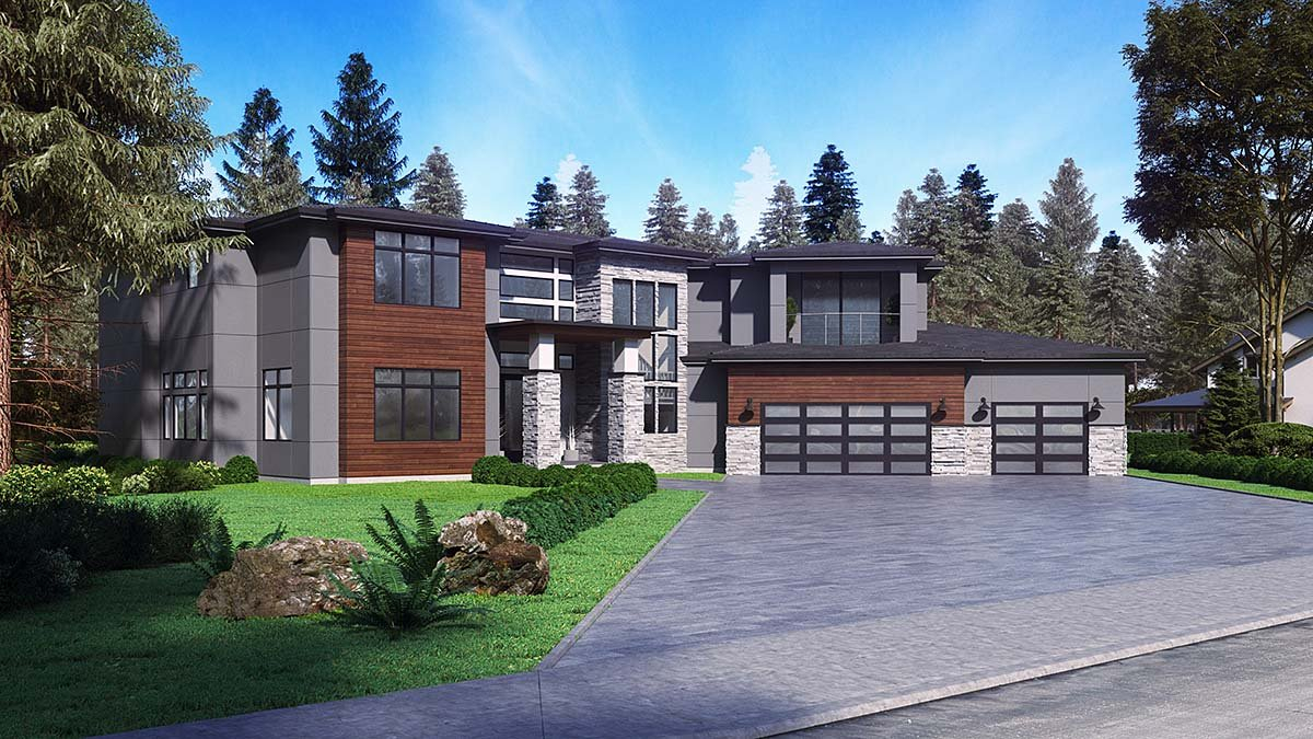 Contemporary, Modern Plan with 5195 Sq. Ft., 4 Bedrooms, 5 Bathrooms, 3 Car Garage Elevation