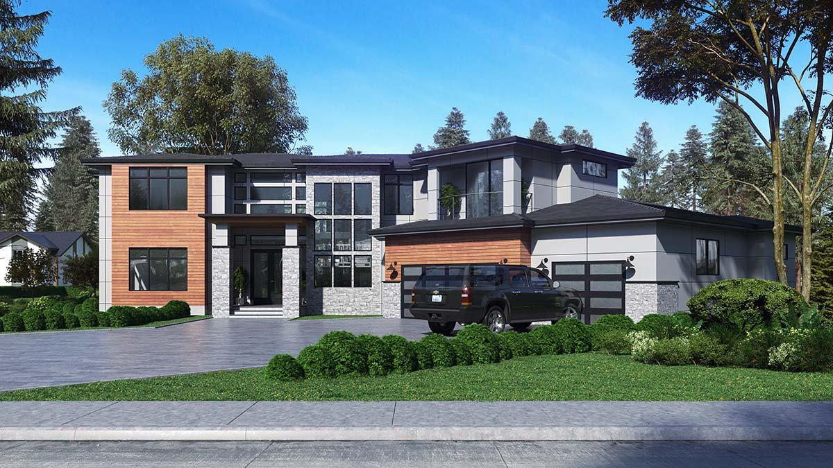 Contemporary, Modern Plan with 5195 Sq. Ft., 4 Bedrooms, 5 Bathrooms, 3 Car Garage Picture 2