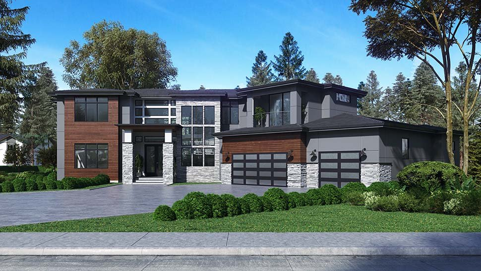 Contemporary, Modern Plan with 5195 Sq. Ft., 4 Bedrooms, 5 Bathrooms, 3 Car Garage Picture 3