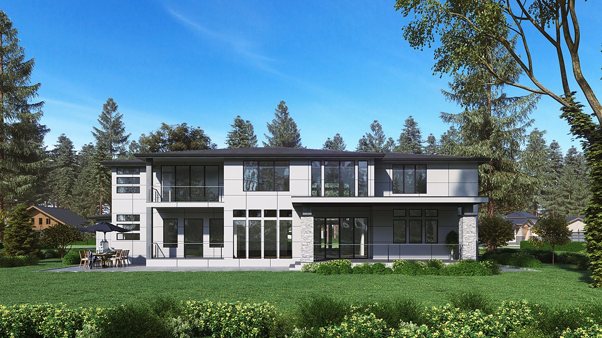 Contemporary, Modern Plan with 5195 Sq. Ft., 4 Bedrooms, 5 Bathrooms, 3 Car Garage Rear Elevation
