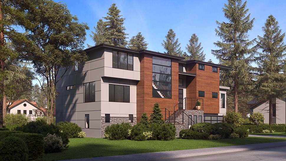 Contemporary, Modern Plan with 5010 Sq. Ft., 4 Bedrooms, 6 Bathrooms, 4 Car Garage Picture 3