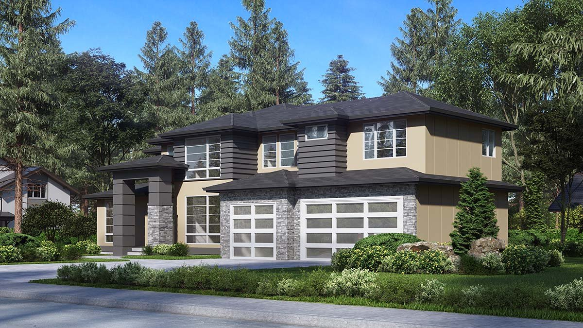 Contemporary, Modern Plan with 3315 Sq. Ft., 4 Bedrooms, 3 Bathrooms, 3 Car Garage Picture 2