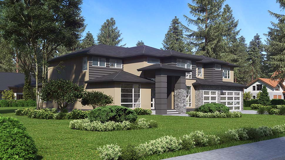 Contemporary, Modern Plan with 3315 Sq. Ft., 4 Bedrooms, 3 Bathrooms, 3 Car Garage Picture 3