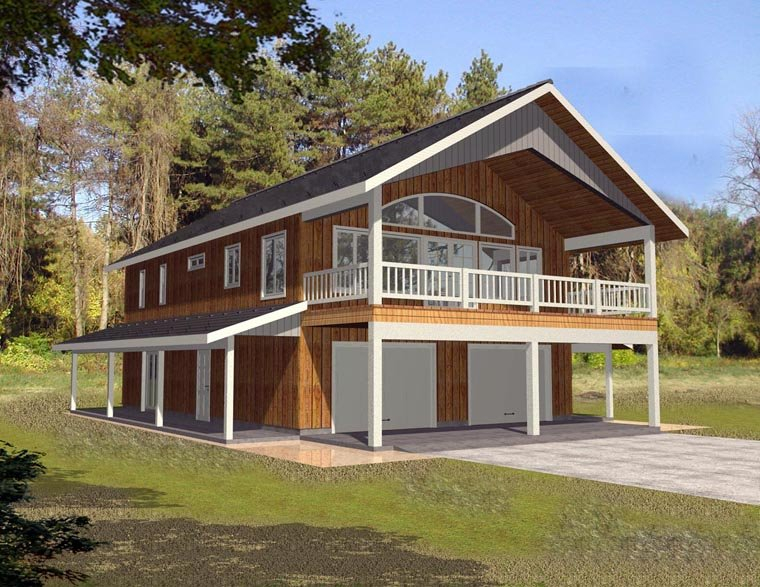 Contemporary, Farmhouse Plan with 1901 Sq. Ft., 2 Bedrooms, 3 Bathrooms, 2 Car Garage Elevation