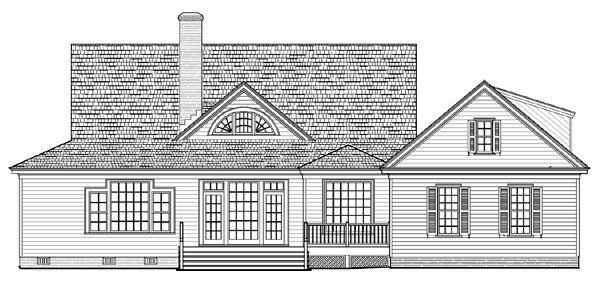Cottage, Country, Farmhouse, Traditional Plan with 2556 Sq. Ft., 4 Bedrooms, 3 Bathrooms, 2 Car Garage Rear Elevation