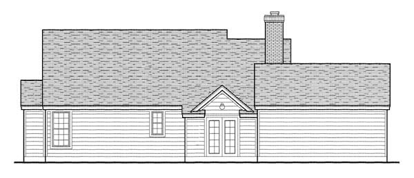 Country, Southern Plan with 1616 Sq. Ft., 3 Bedrooms, 2 Bathrooms, 2 Car Garage Rear Elevation