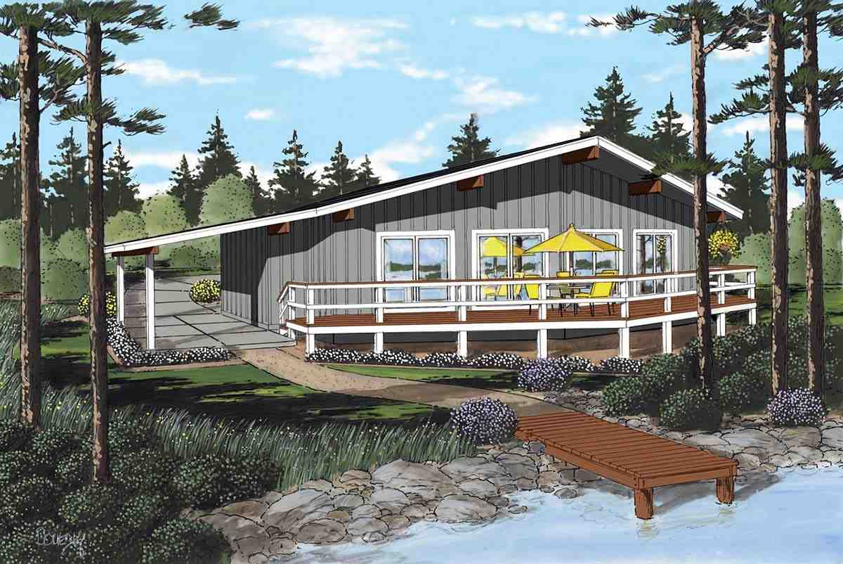 Contemporary, One-Story, Retro House Plan 1074 with 3 Beds, 2 Baths, 1 Car Garage Elevation