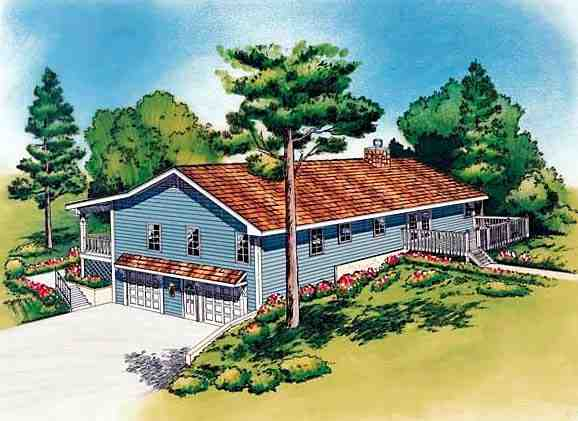 Country, Traditional House Plan 20198 with 3 Beds, 2 Baths, 2 Car Garage Rear Elevation