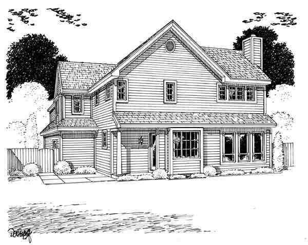 Contemporary, Traditional House Plan 20235 with 3 Beds, 3 Baths, 2 Car Garage Rear Elevation