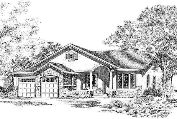 Bungalow, Craftsman, Mediterranean, One-Story, Traditional House Plan 24258 with 3 Beds, 2 Baths Elevation