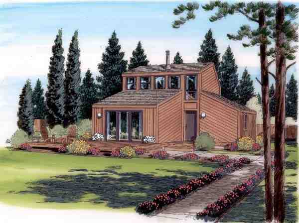 Contemporary, Retro House Plan 24310 with 1 Beds, 1 Baths Elevation