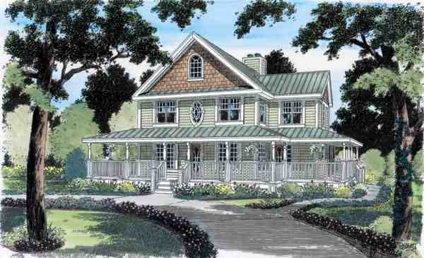 Country, Farmhouse, Traditional House Plan 24724 with 4 Beds, 3 Baths Elevation