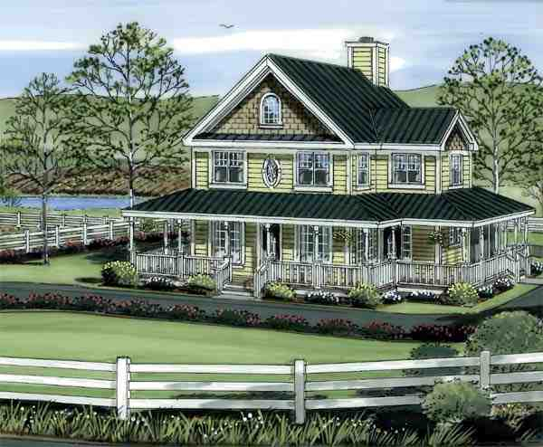 Country, Farmhouse, Traditional House Plan 24724 with 4 Beds, 3 Baths Picture 1