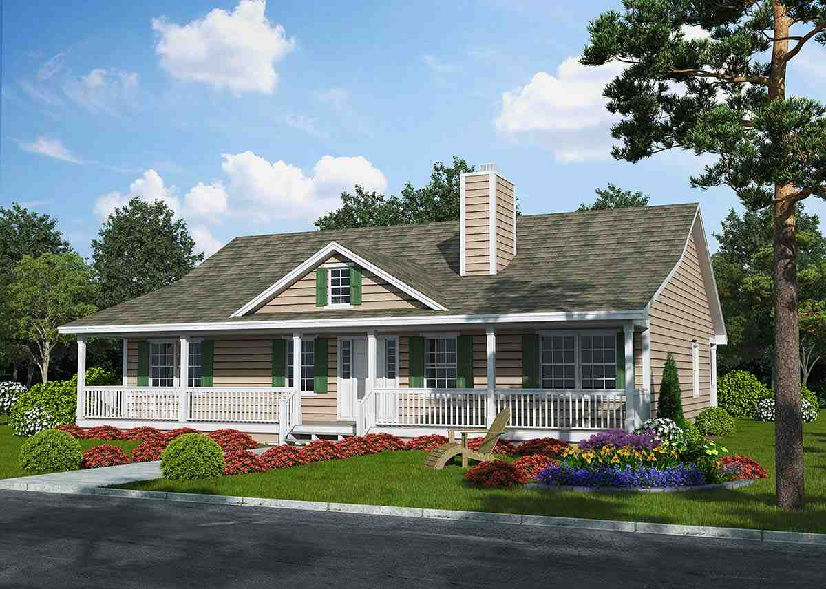 Country, Ranch, Traditional House Plan 25102 with 3 Beds, 2 Baths Elevation