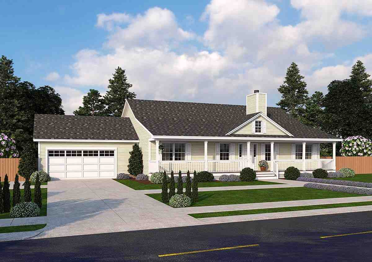 Country, Ranch, Traditional House Plan 25103 with 3 Beds, 2 Baths, 2 Car Garage Elevation
