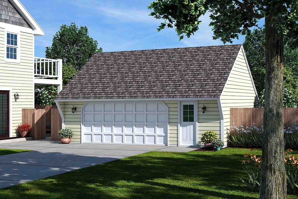 Cape Cod, Saltbox, Traditional 2 Car Garage Plan 30020 Elevation