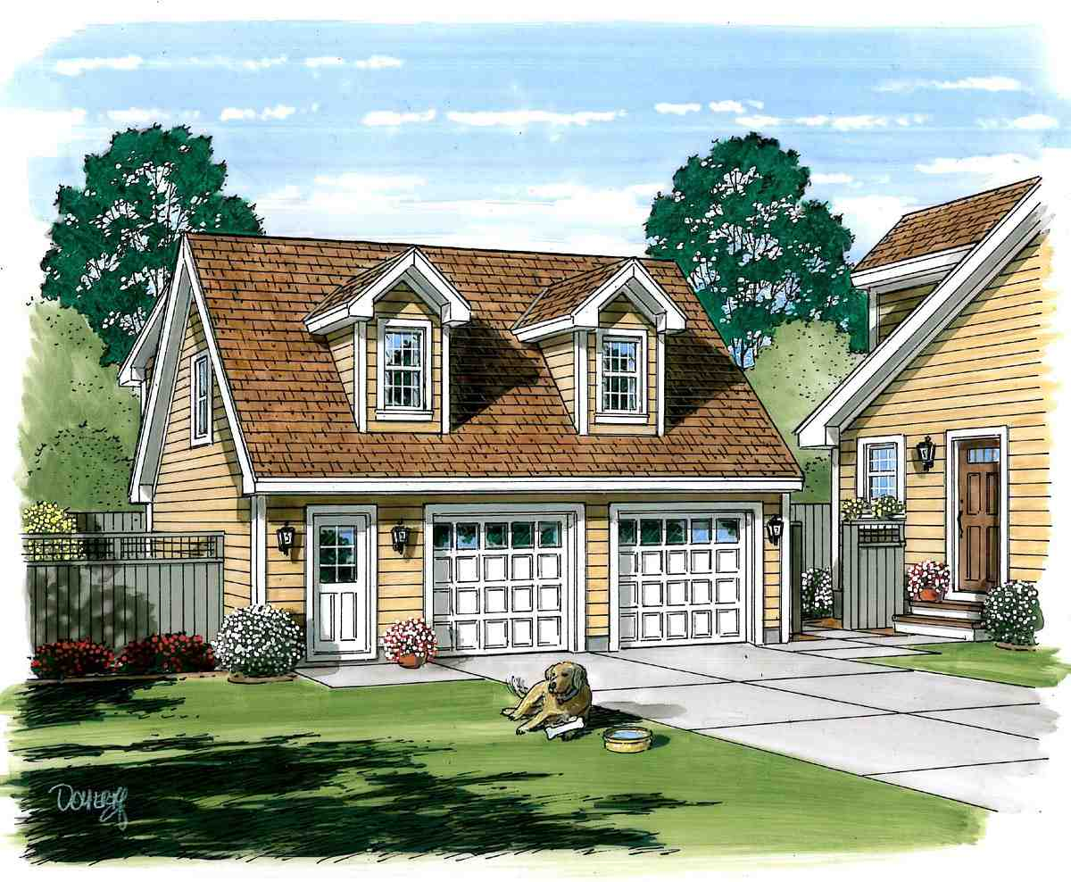 Cape Cod, Cottage, Country, Farmhouse, Saltbox 2 Car Garage Apartment Plan 30030 with 1 Beds, 1 Baths Picture 1