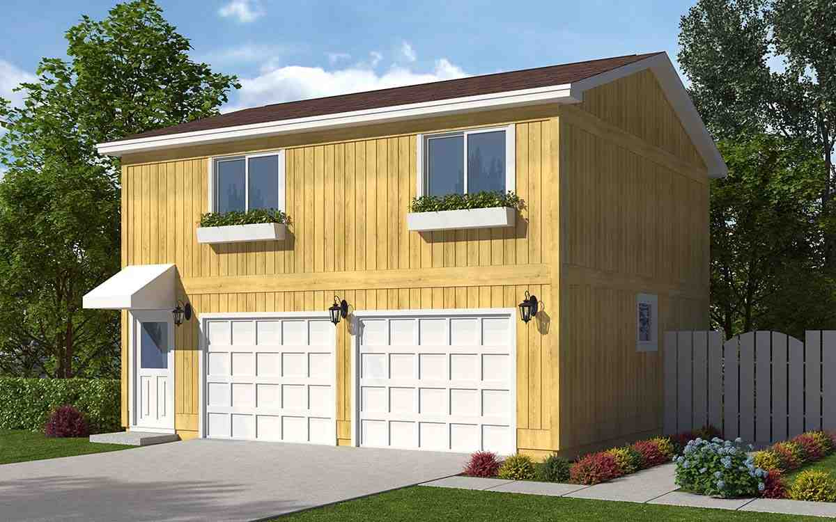 Contemporary, Traditional 2 Car Garage Apartment Plan 30040 with 2 Beds, 1 Baths Picture 1