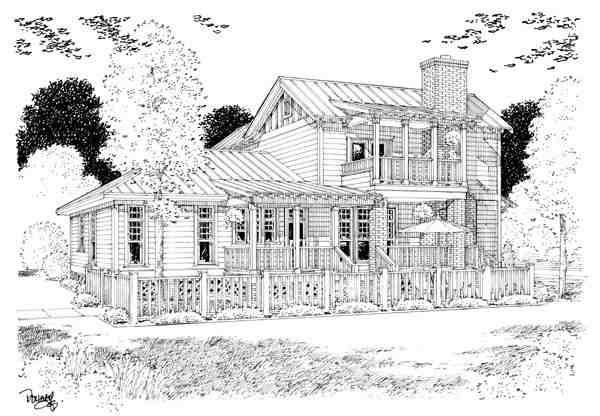 Bungalow, Coastal, Cottage, Country, Farmhouse, Traditional House Plan 30501 with 3 Beds, 3 Baths Rear Elevation