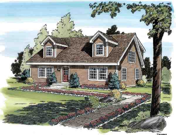 Cape Cod, Coastal, Country, Traditional House Plan 34077 with 4 Beds, 3 Baths Elevation