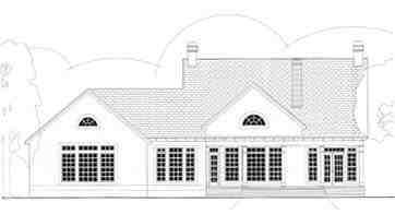 Cape Cod, Colonial House Plan 40020 with 3 Beds, 3 Baths, 2 Car Garage Rear Elevation