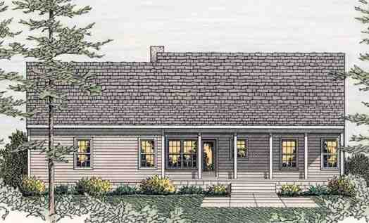 Country, Ranch House Plan 40026 with 3 Beds, 2 Baths, 2 Car Garage Rear Elevation