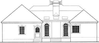 House Plan 40027 with 3 Beds, 2 Baths, 2 Car Garage Rear Elevation