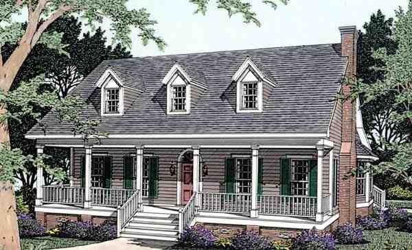 Cape Cod, Country House Plan 40032 with 3 Beds, 2 Baths, 2 Car Garage Elevation
