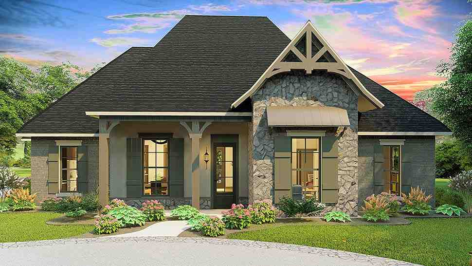 Cottage, Country, Craftsman, Southern, Traditional House Plan 40043 with 4 Beds, 3 Baths, 2 Car Garage Elevation