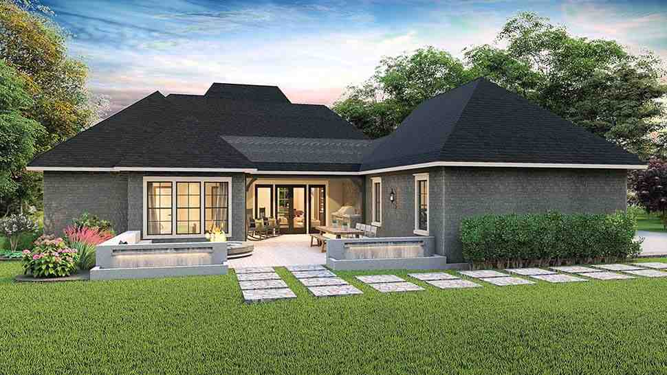 Cottage, Country, Craftsman, Southern, Traditional House Plan 40043 with 4 Beds, 3 Baths, 2 Car Garage Rear Elevation