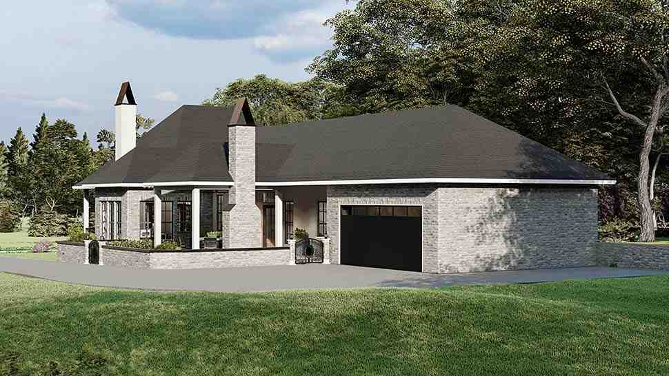 Cottage, Country, Southern, Traditional House Plan 40044 with 3 Beds, 2 Baths, 2 Car Garage Rear Elevation