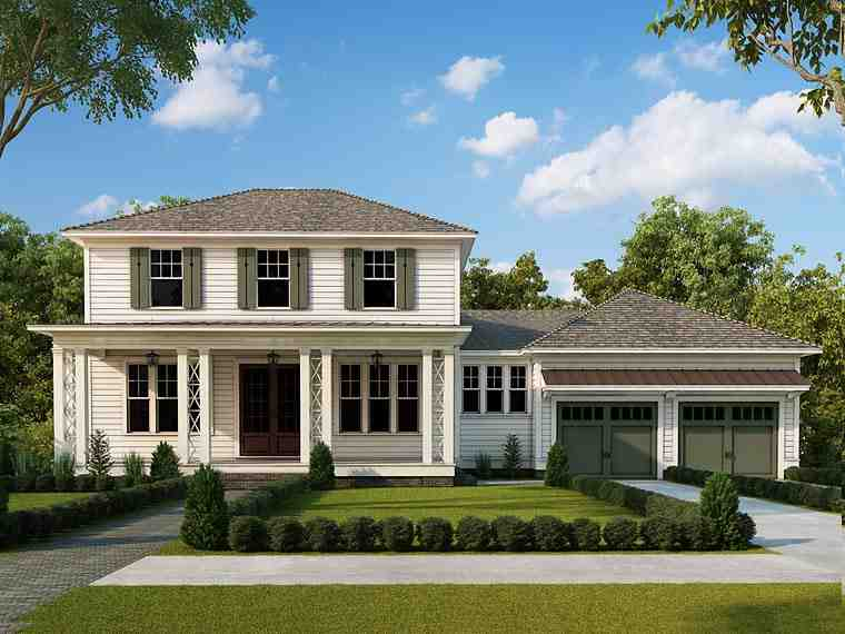Colonial, Southern House Plan 40101 with 4 Beds, 4 Baths, 2 Car Garage Elevation