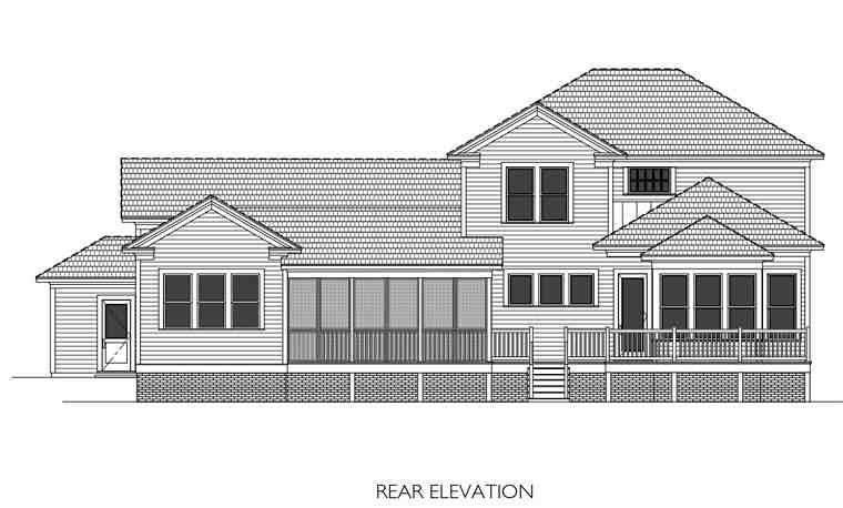 Colonial, Southern House Plan 40101 with 4 Beds, 4 Baths, 2 Car Garage Rear Elevation