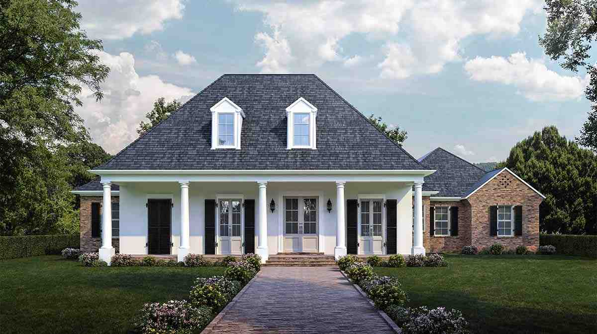 Colonial, French Country, Southern House Plan 40311 with 4 Beds, 3 Baths, 3 Car Garage Elevation
