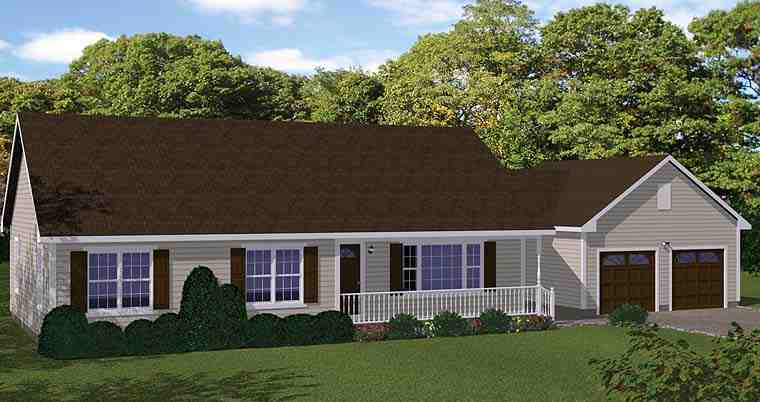 Country, Ranch, Traditional House Plan 40689 with 3 Beds, 1 Baths, 2 Car Garage Elevation