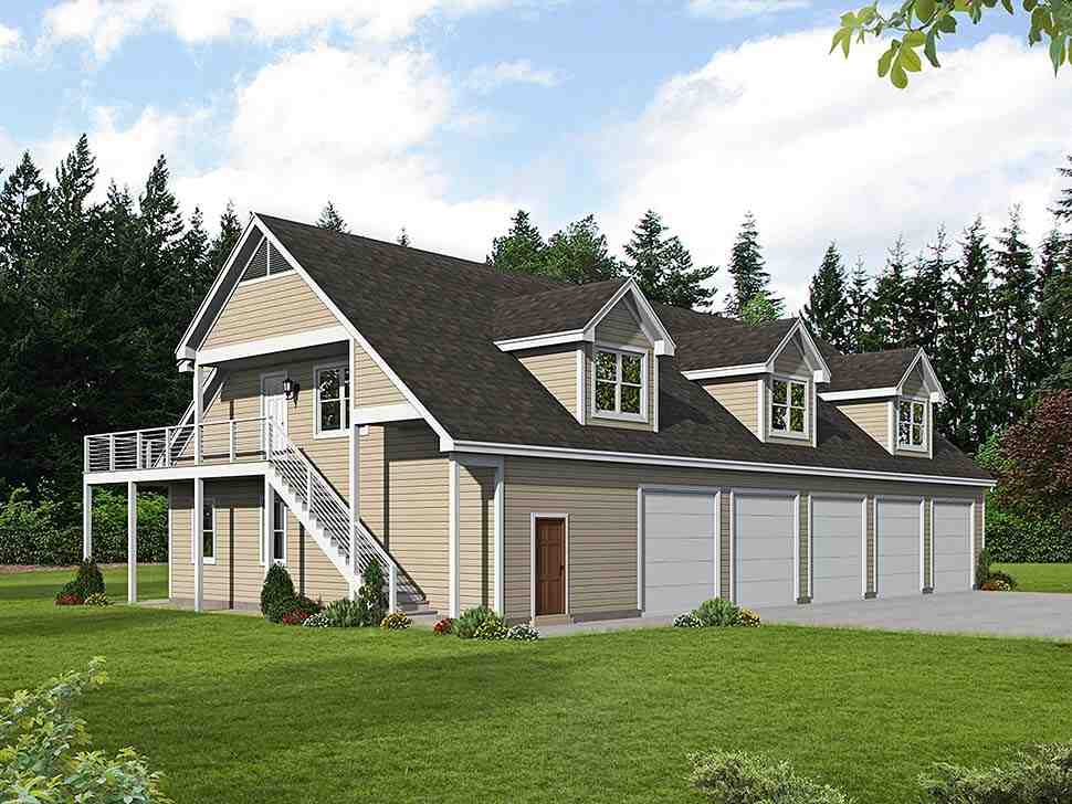 Country, Traditional 5 Car Garage Apartment Plan 40801 with 2 Beds, 3 Baths Elevation
