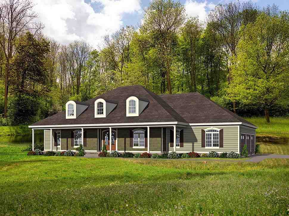 Country, Farmhouse, Ranch, Traditional House Plan 40806 with 4 Beds, 5 Baths, 3 Car Garage Elevation